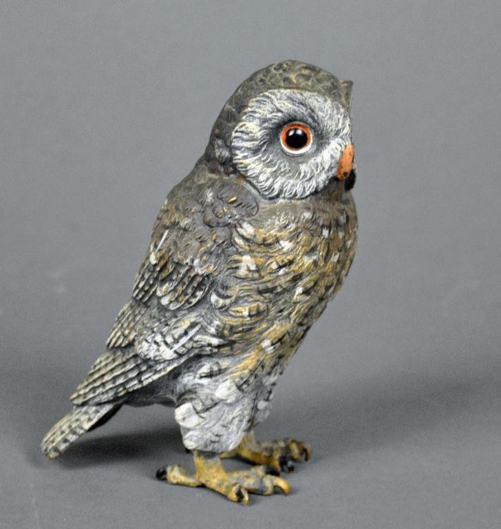 AUSTRIAN COLD-PAINTED BRONZE OWL, 5in.