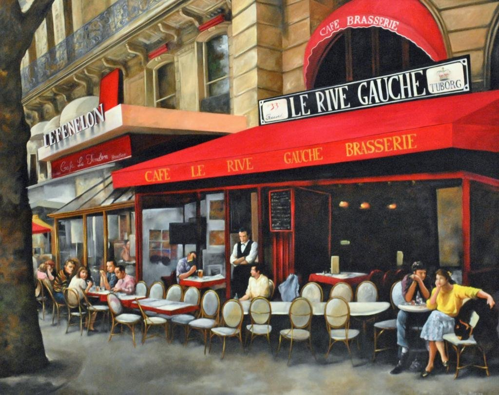 OIL PAINTING OF LARGE SIZE - FRENCH CAFE