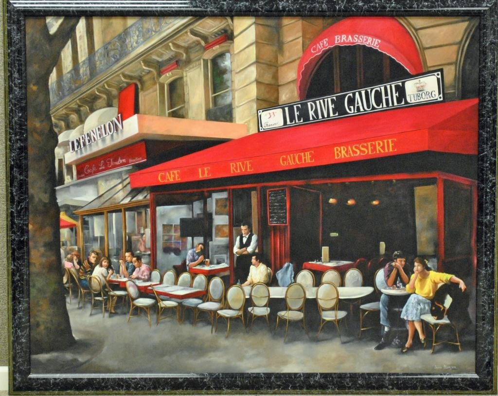 OIL PAINTING OF LARGE SIZE - FRENCH CAFE - 2
