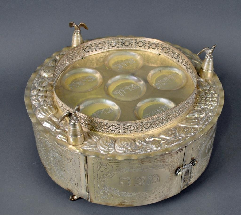 JUDAICA STERLING SEDER TRAY & MATZOH HOLDER