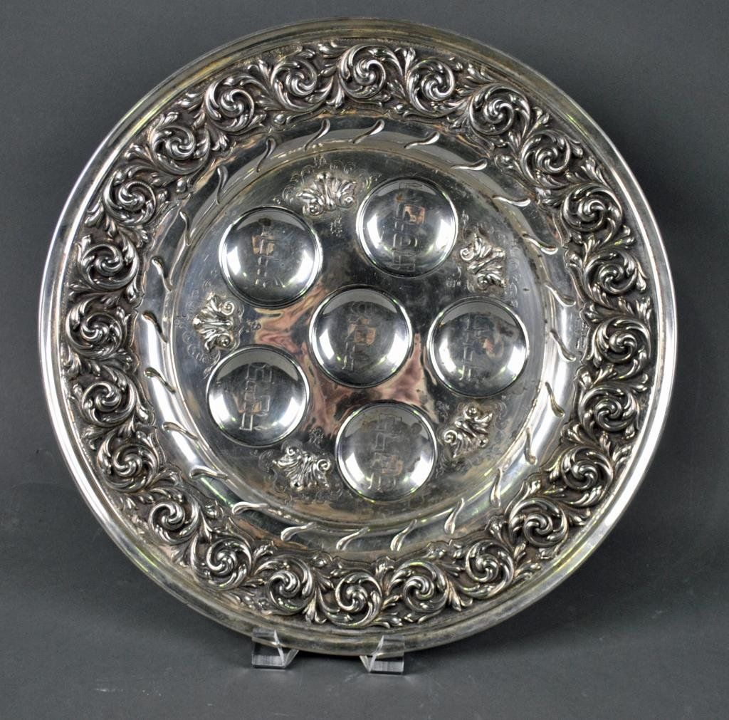 JUDAICA LARGE STERLING SEDER PLATE