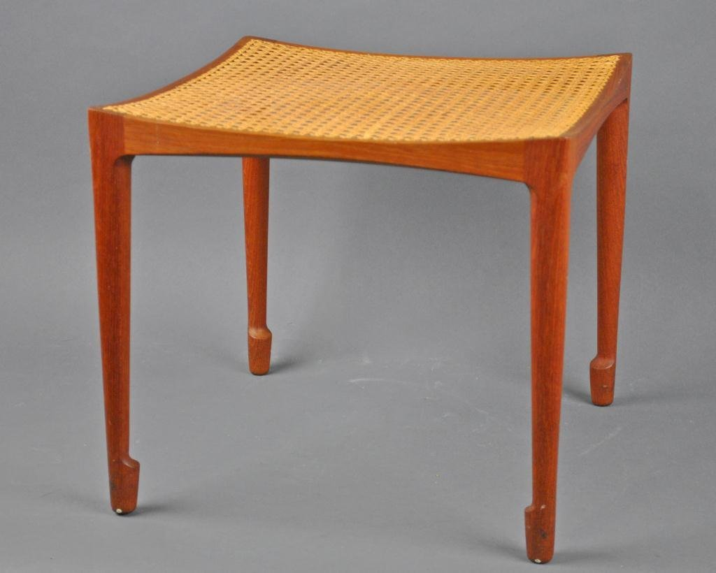 PAIR OF DANISH MODERN CANED-SEAT TEAK BENCHES