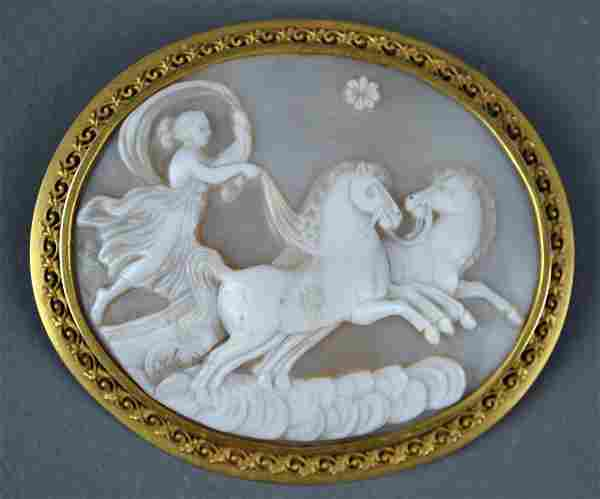 GOLD CAMEO CHARIOT BROOCH