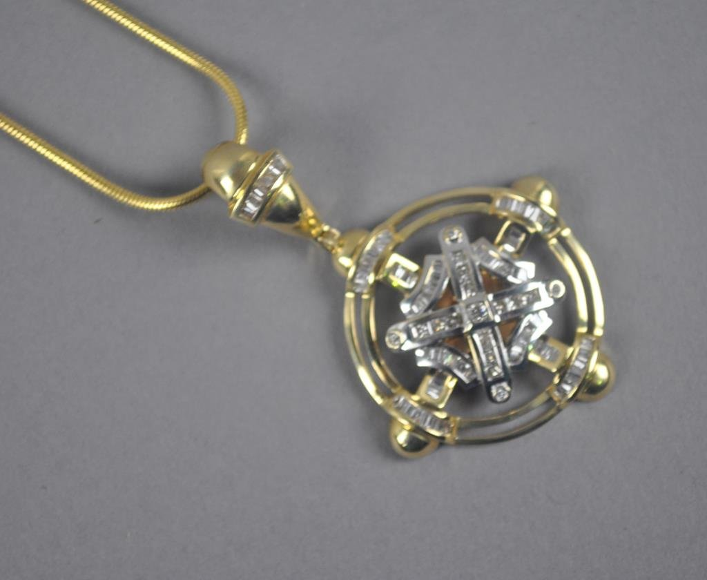 GOLD AND DIAMOND PENDANT AND NECKCHAIN, 1.58+CTW