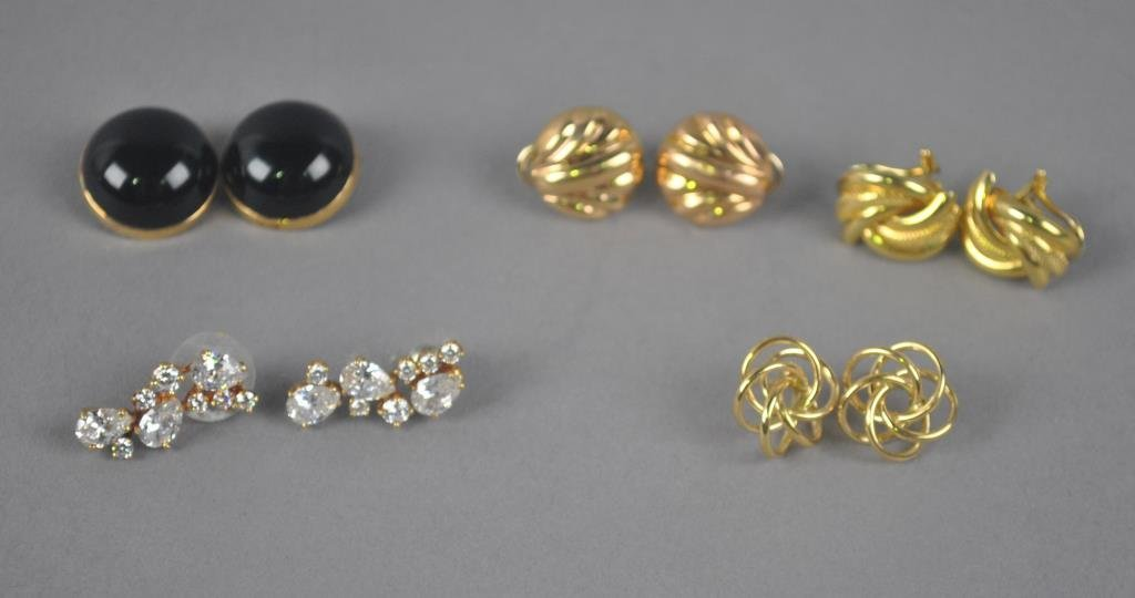 FIVE PAIRS OF 14K GOLD EARRINGS