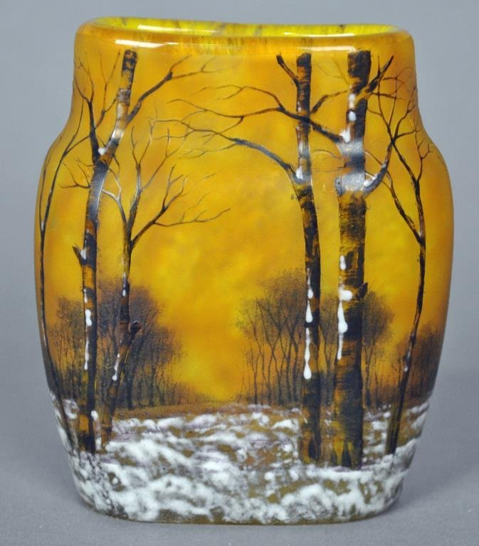 DAUM NANCY MINIATURE CAMEO GLASS  VASE