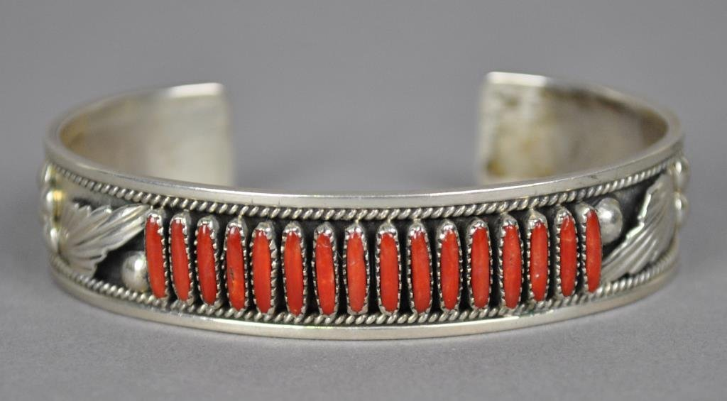 ZUNI PETIT POINT CORAL CUFF BY DAVE & CELIA NIETO