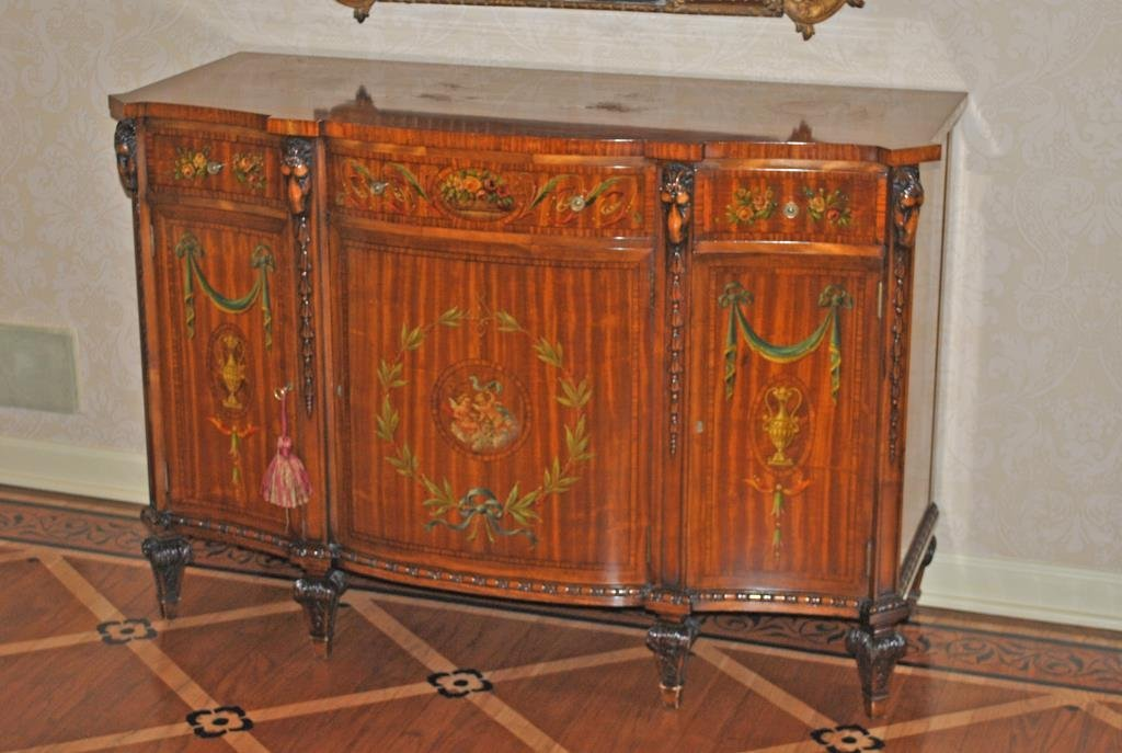 ADAMS STYLE PAINT-DECORATED SATINWOOD COMMODE
