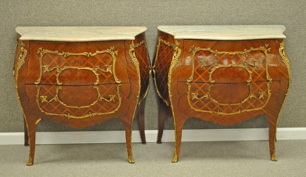 PAIR MARBLE TOP PARQUETRY BOMBE COMMODES