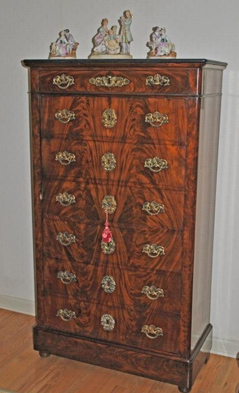CROTCH MAHOGANY MARBLE TOP FAUX CHEST CABINET