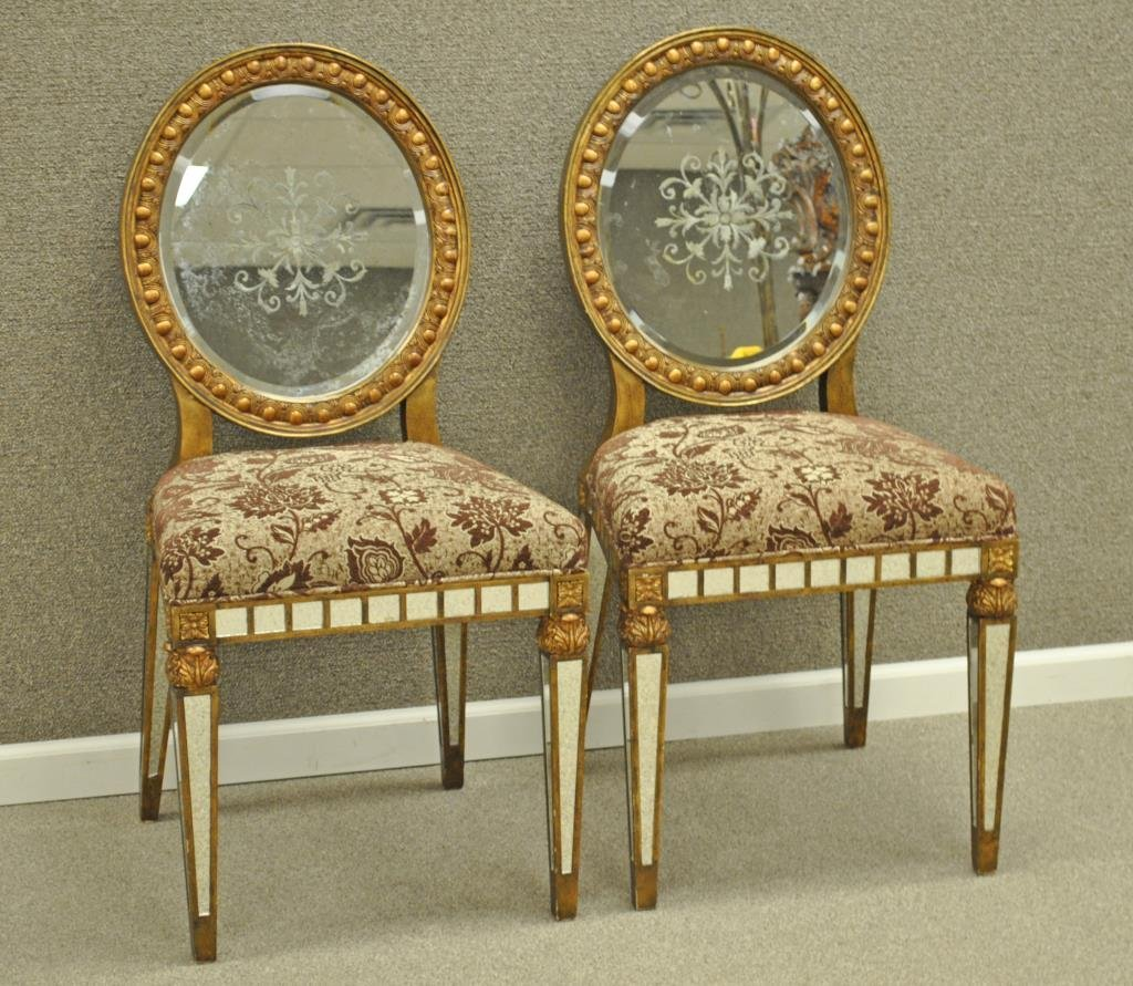PAIR VENETIAN STYLE MIRRORED & PAINTED SIDE CHAIRS