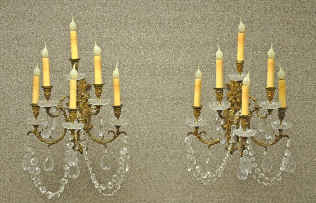 PAIR BRASS & CRYSTAL 6-LIGHT WALL SCONCES