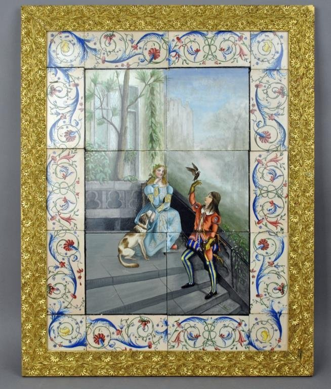 ANTIQUE FRENCH PORCEALIN TILEWORK PICTURE