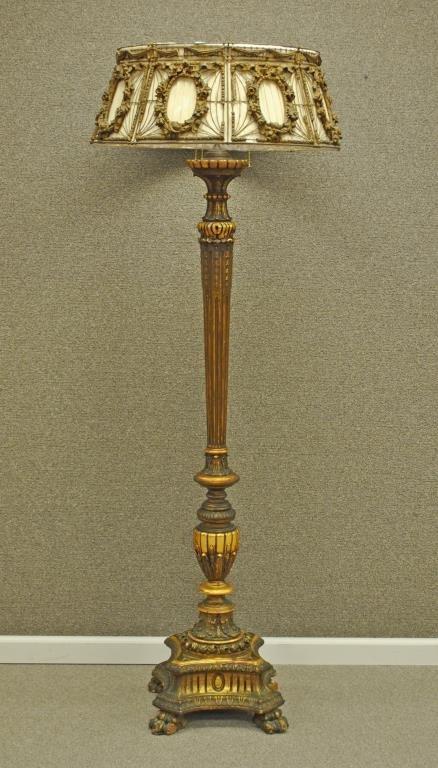 EDWARDIAN GILT & GESSO FLOOR LAMP