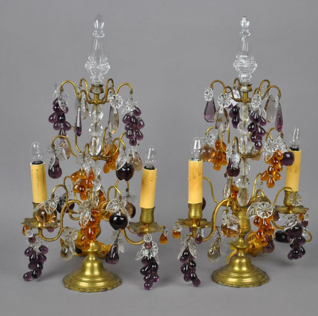 PAIR BRONZE & CRYSTAL TABLE LAMPS
