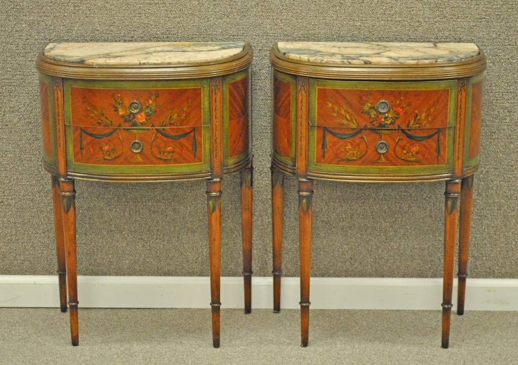 PAIR ADAMS STYLE PAINTED DEMILUNE STANDS