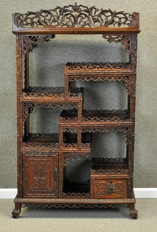 CHINESE EXPORT CARVED HARDWOOD ETAGERE