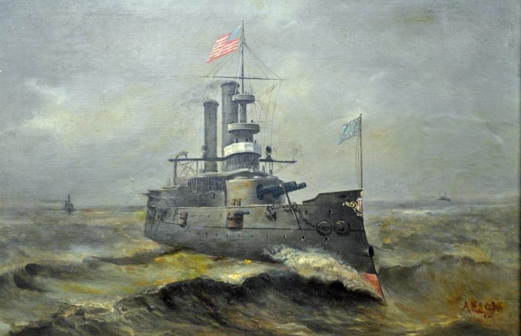 OIL ON CANVAS PAINTING OF A BATTLESHIP