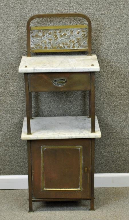 ART NOUVEAU BRASS & MARBLE TWO-TIER WASHSTAND