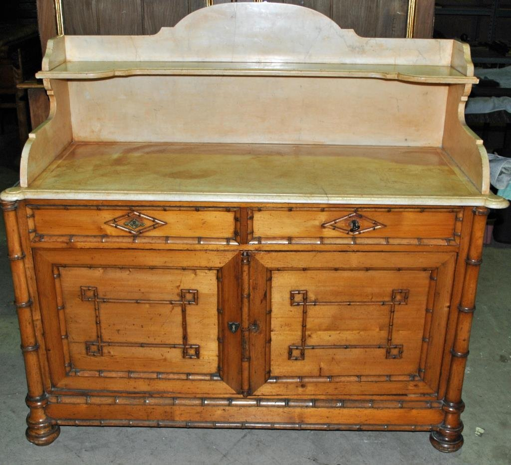 ANTIQUE PINE, BAMBOO & MARBLE SIDEBOARD