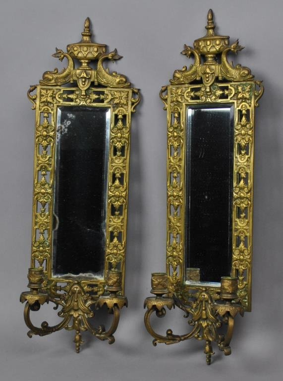 PAIR VICTORIAN CAST BRASS 2-BRANCH WALL SCONCES