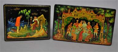 TWO PALEKH SCHOOL RUSSIAN LACQUERED BOXES