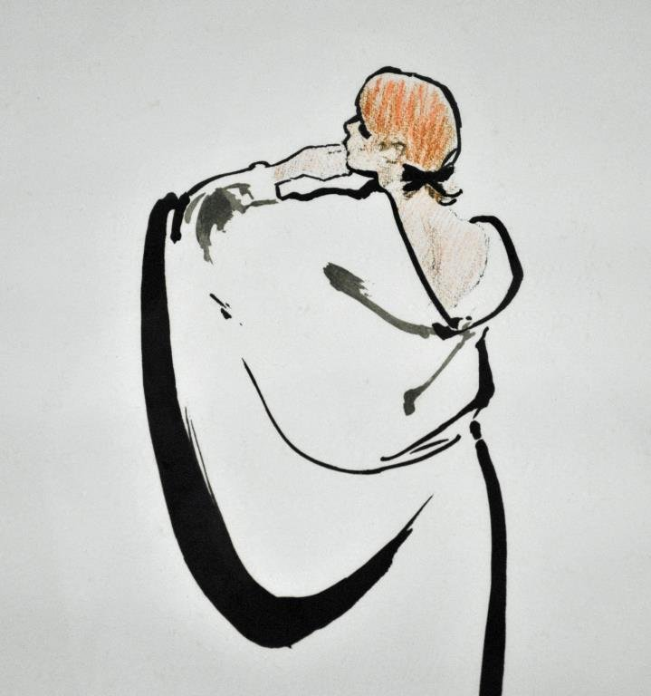 RENE GRUAU COLOR LITHOGRAPH - WOMAN FROM BEHIND