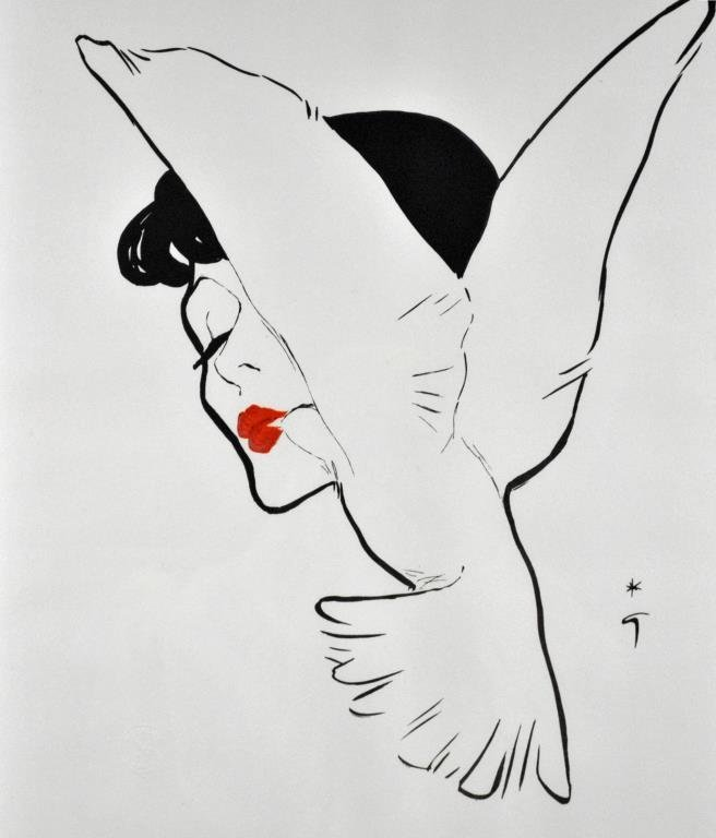 RENE GRUAU COLOR LITHOGRAPH - THE BIRD KISS