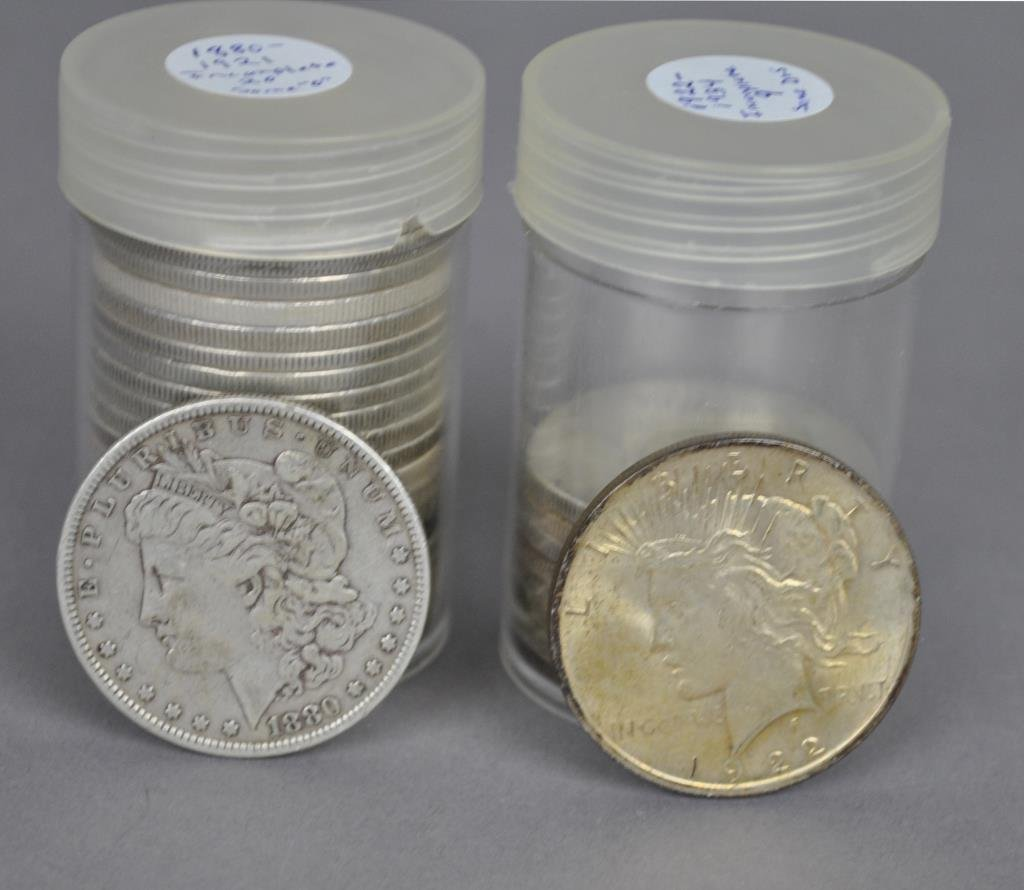29-US SILVER MORGAN & PEACE DOLLAR COINS