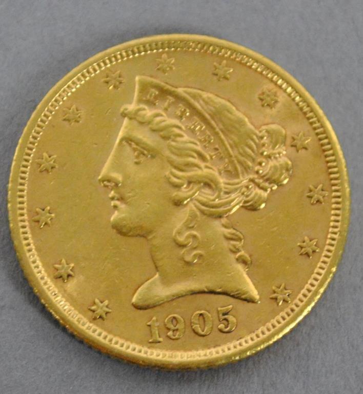 1905-S US LIBERTY HALF EAGLE $5 DOLLAR GOLD COIN
