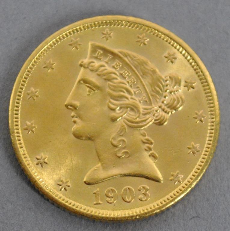 1903-S US LIBERTY HALF EAGLE $5 DOLLAR GOLD COIN