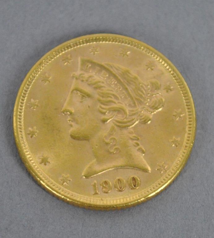 1900 US LIBERTY HALF EAGLE $5 DOLLAR GOLD COIN