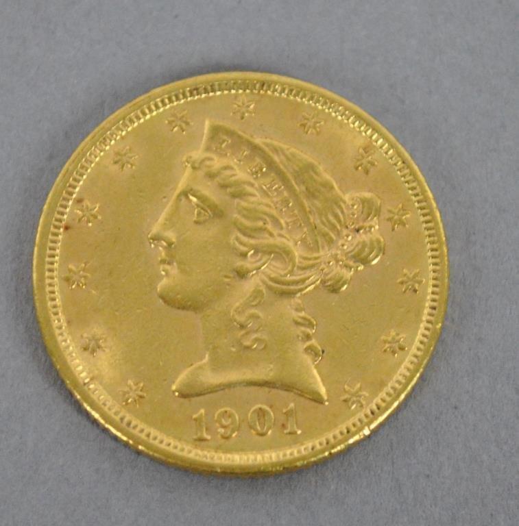 1901 US LIBERTY HALF EAGLE $5 DOLLAR GOLD COIN