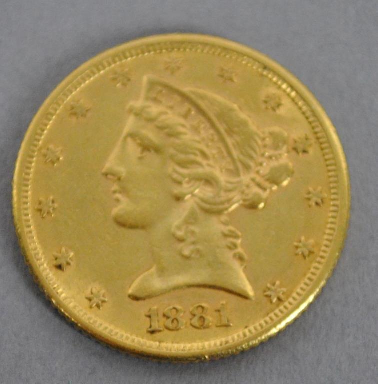 1881 US LIBERTY HALF EAGLE $5 DOLLAR GOLD COIN