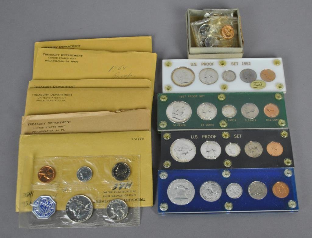 11-US SILVER PROOF COINS SETS, 1952 THRU 1964