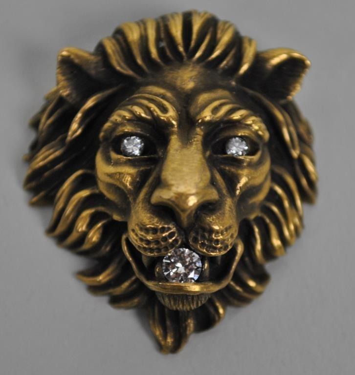 GOLD & DIAMOND LION HEAD PENDANT SIGNED BAUM