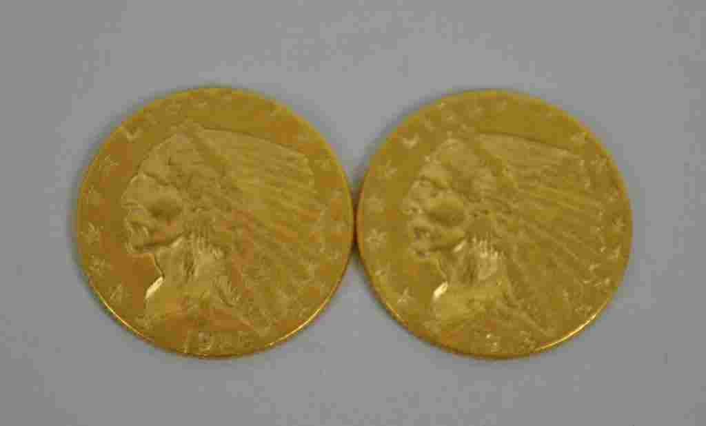(2) US INDIAN HEAD $2.5 DOLLAR GOLD COINS