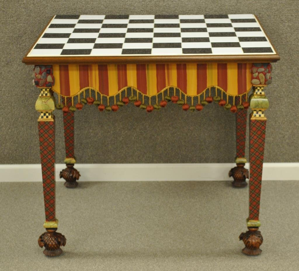 MACKENZIE-CHILDS HAND-PAINTED GAME TABLE