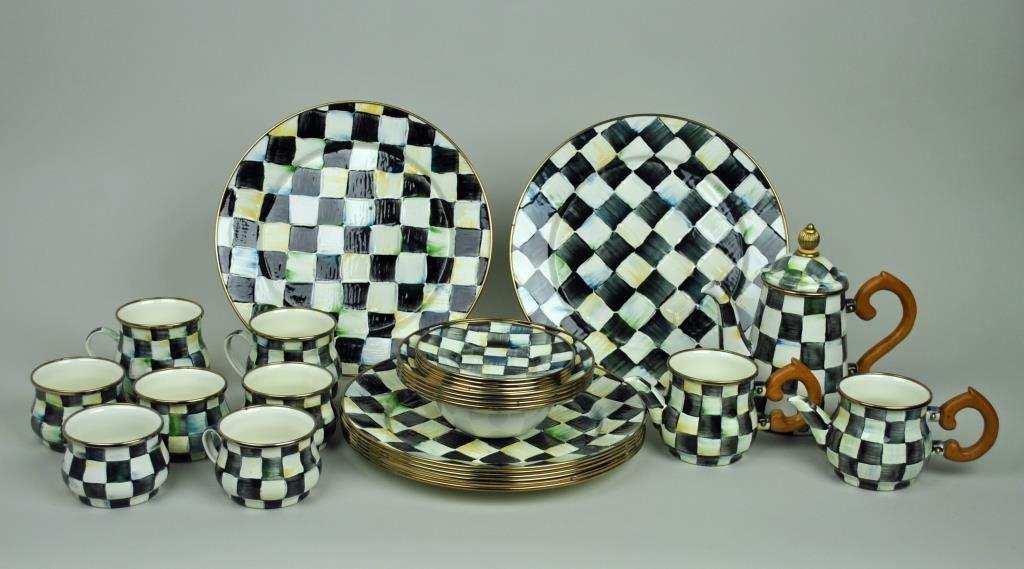 MACKENZIE-CHILDS COURTLY CHECK ENAMELWARE GROUP