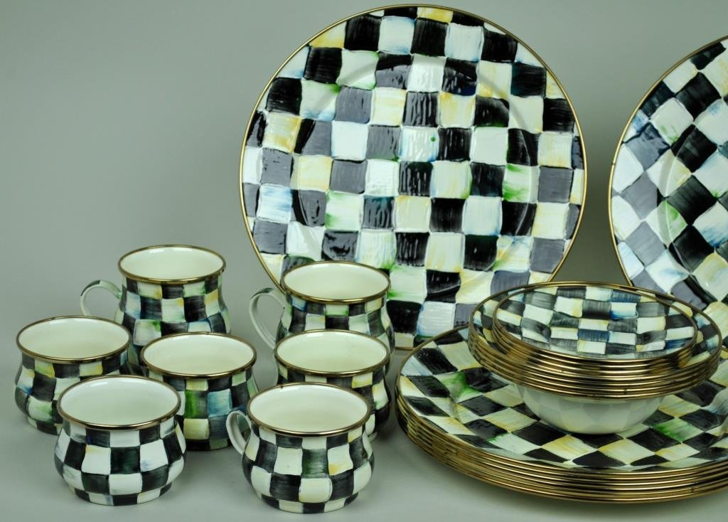 MACKENZIE-CHILDS COURTLY CHECK ENAMELWARE GROUP - 2