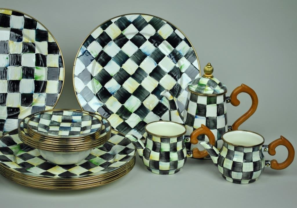 MACKENZIE-CHILDS COURTLY CHECK ENAMELWARE GROUP - 3