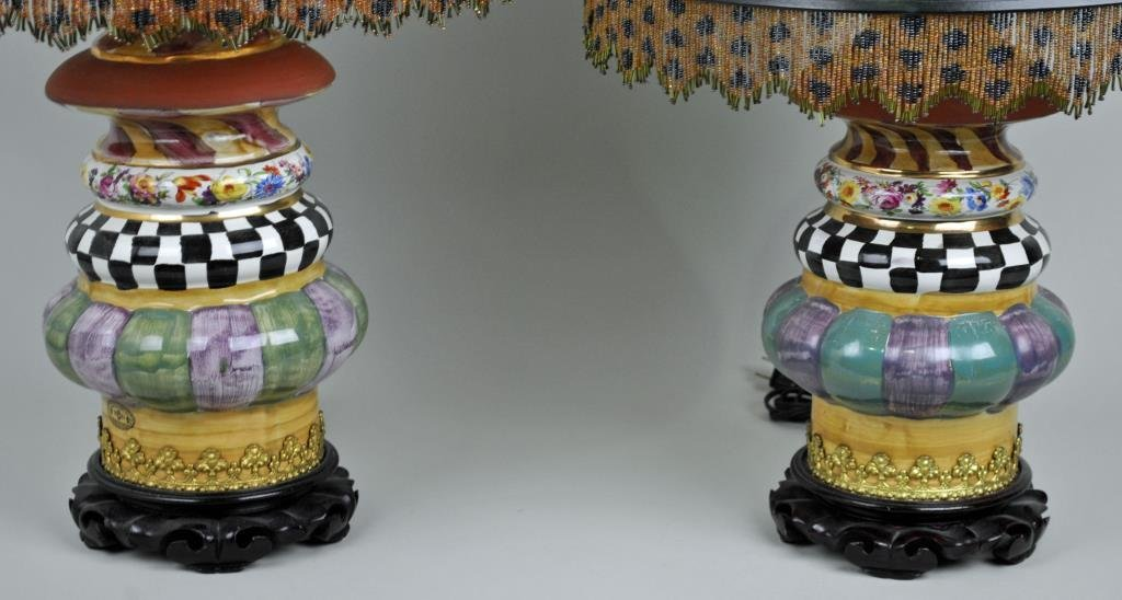 PAIR MACKENZIE-CHILDS LIGHTHOUSE TABLE LAMPS - 2