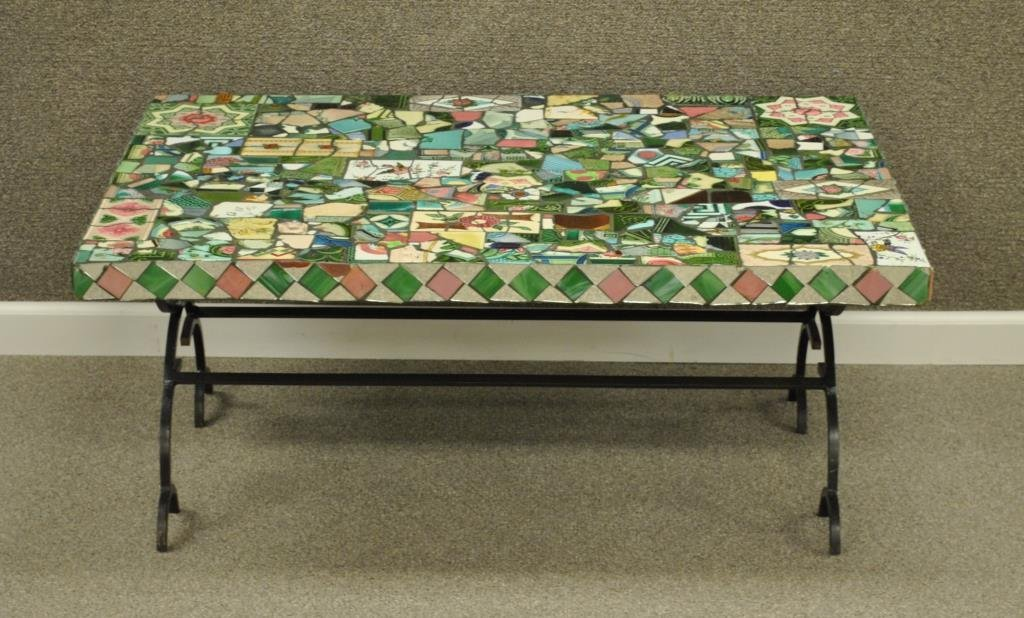 MOSAIC COCKTAIL TABLE IN MACKENZIE-CHILDS STYLE