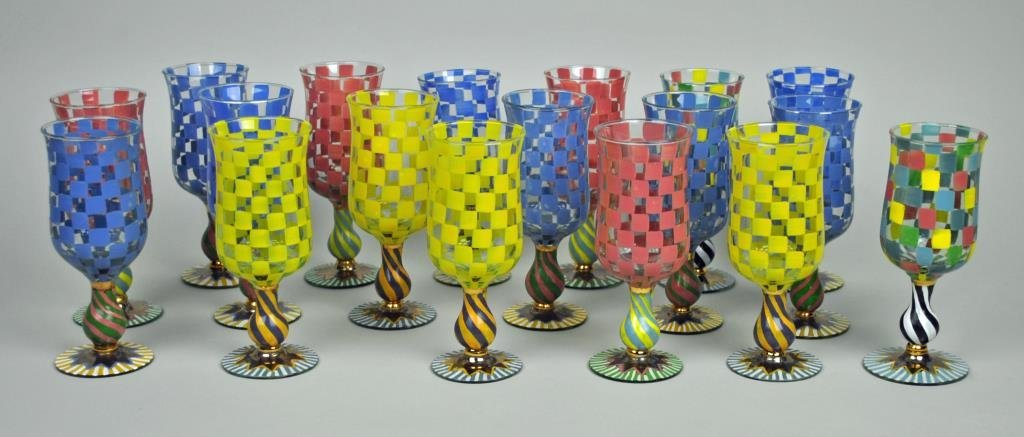 (18) MACKENZIE-CHILDS CIRCUS TALL WATER GOBLETS