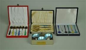 (3) BOXED SETS DANISH STERLING & ENAMELED FLATWARE