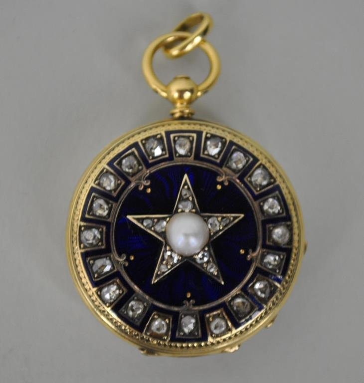 DIAMOND & GOLD  POCKET WATCH - J.F. BAUTTE & CIE