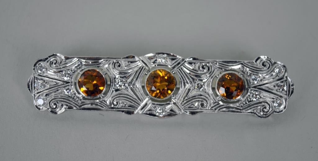 ART DECO CITRINE & DIAMOND BAR PIN, 2.65CTW