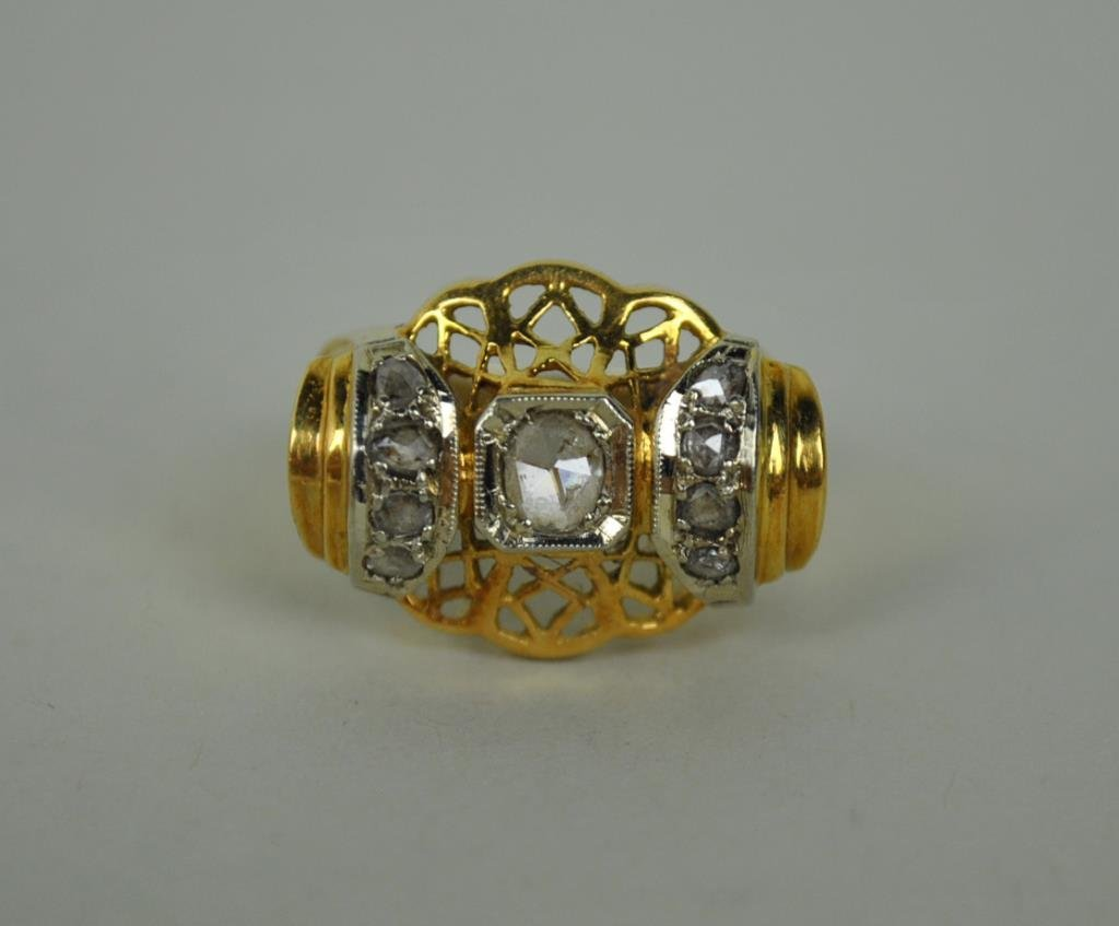ART DECO DIAMOND FILIGREE RING, 0.46CTW