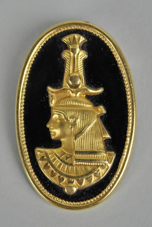 FRENCH EGYPTIAN REVIVAL 18K GOLD & ONYX PENDANT