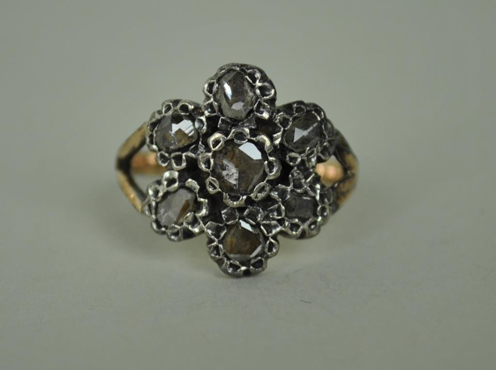 ANTIQUE ROSE CUT DIAMOND RING, 1.15CTW